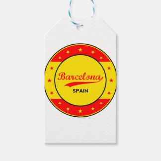 Étiquettes-cadeau Barcelone, Spain, circle with flag colors