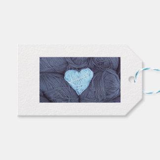 Étiquettes-cadeau Belle photographie de coeur bleu de laine