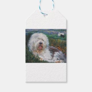 Étiquettes-cadeau Belle vieille peinture anglaise d'art de chien de
