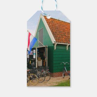 Étiquettes-cadeau Bicyclettes, village néerlandais de moulin à vent,