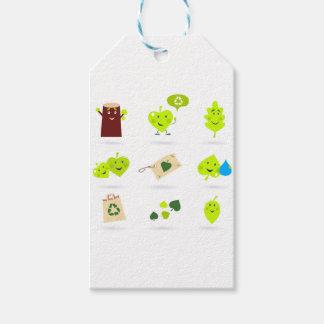 Étiquettes-cadeau Bio vert mignon d'icônes d'enfants