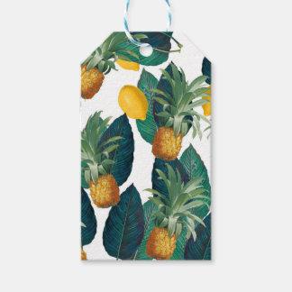 Étiquettes-cadeau blanc d'ananas et de citron