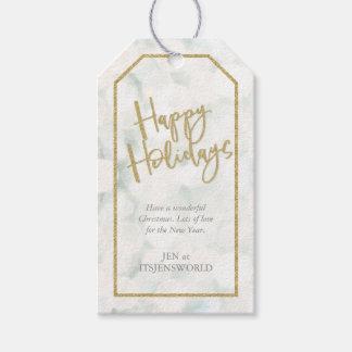 Étiquettes-cadeau Blanc et effet de scintillement d'or bonnes fêtes