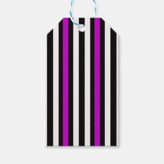Étiquettes-cadeau Blanc noir pourpre vertical de rayures