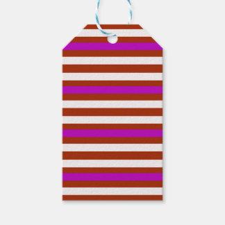 Étiquettes-cadeau Blanc rouge pourpre horizontal de rayures