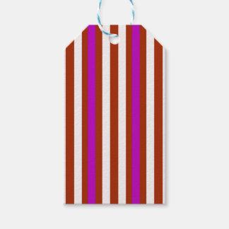 Étiquettes-cadeau Blanc rouge pourpre vertical de rayures