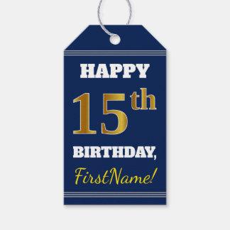 Étiquettes-cadeau Bleu, anniversaire d'or de Faux 15ème + Nom fait