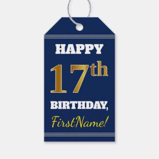 Étiquettes-cadeau Bleu, anniversaire d'or de Faux 17ème + Nom fait