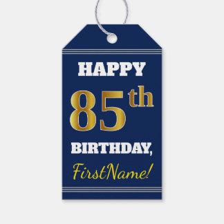 Étiquettes-cadeau Bleu, anniversaire d'or de Faux 85th + Nom fait