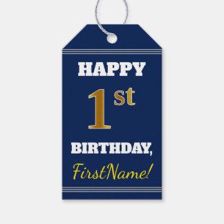 Étiquettes-cadeau Bleu, anniversaire d'or de Faux ęr + Nom fait sur