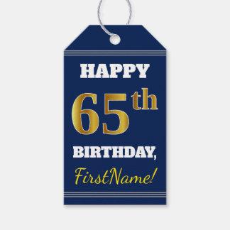 Étiquettes-cadeau Bleu, anniversaire d'or de Faux soixante-cinquième