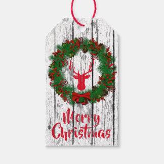 Étiquettes-cadeau Bois de guirlande de tête de mâle de Joyeux Noël