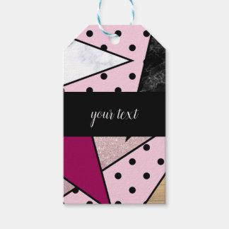 Étiquettes-cadeau Bois rose géométrique élégant de marbre de parties