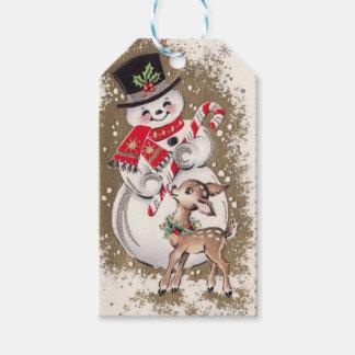 Étiquettes-cadeau bonhomme de neige vintage des années 1950 avec des