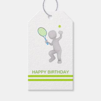 Étiquettes-cadeau boule de raquette de tennis de joueur de tennis 3D