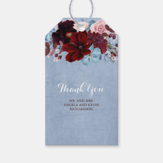 Étiquettes-cadeau Bourgogne et mariage floral bleu poussiéreux