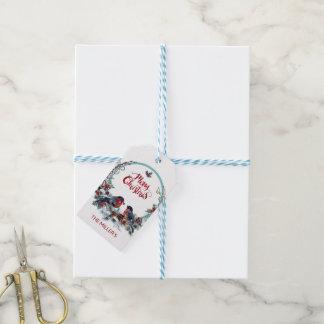 Étiquettes-cadeau Bouvreuils mignons guirlande et oiseaux