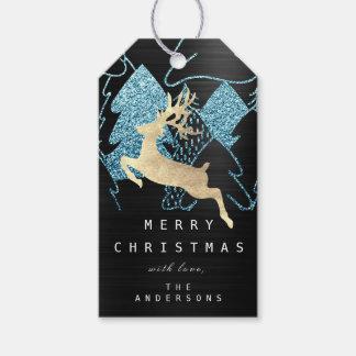 Étiquettes-cadeau Cadeau à scintiller arbre de Noël bleu noir d'or