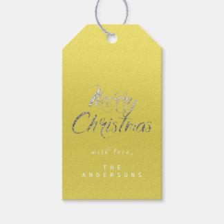 Étiquettes-cadeau Cadeau de Joyeux Noël pour script le lux argenté