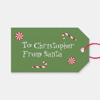 Étiquettes-cadeau Cadeau personnalisé de vert de sucrerie de Noël de
