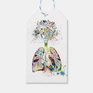 Étiquettes-cadeau Cadeaux médicaux coeur et motif de poumons