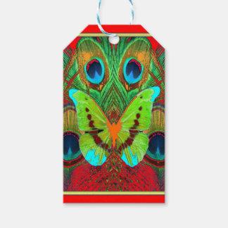 Étiquettes-cadeau cadeaux verts de paon de papillon