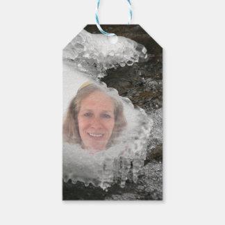 Étiquettes-cadeau Cadre de photo de glaçons de rivière
