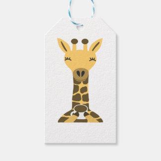 Étiquettes-cadeau Café potable de girafe mignonne