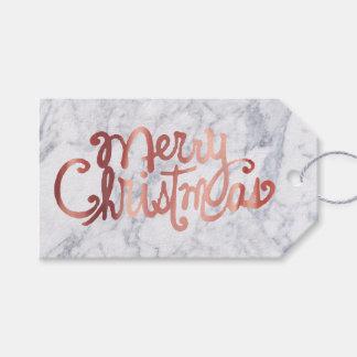 Étiquettes-cadeau calligraphie rose de Joyeux Noël d'or sur le
