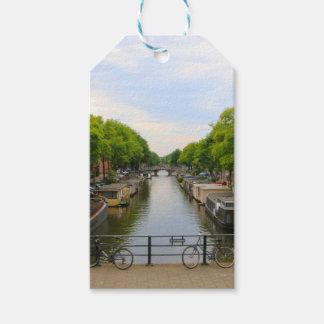 Étiquettes-cadeau Canal, ponts, vélos, bateaux, Amsterdam, Hollande