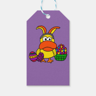 Étiquettes-cadeau Canard jaune mignon avec les oreilles et le panier