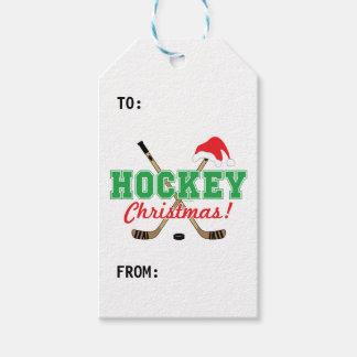 Étiquettes-cadeau Casquette de Père Noël de bâtons de hockey de Noël