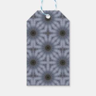 Étiquettes-cadeau Cercles floraux de kaléidoscope, gris