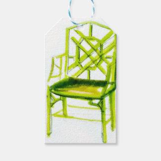 Étiquettes-cadeau chaise de chinoiserie pour la carte d'endroit