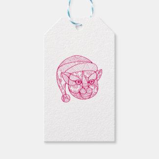 Étiquettes-cadeau Chat portant le mandala de casquette de Père Noël