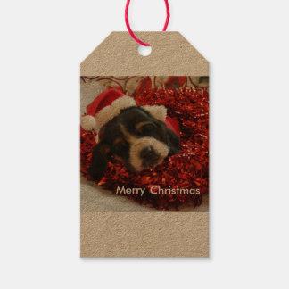 Étiquettes-cadeau Chien de basset d'étiquette de cadeau de Noël