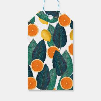 Étiquettes-cadeau Citrons et oranges blancs