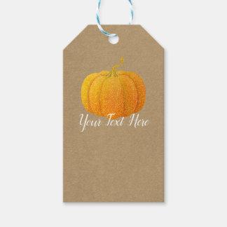 Étiquettes-cadeau Citrouille d'automne scintillé orange de parties