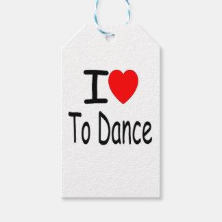 Étiquettes-cadeau coeur i pour danser b