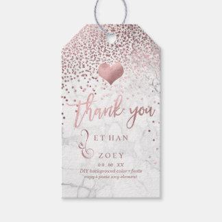 Étiquettes-cadeau Coeur/marbre roses d'or de Faux de PixDezines