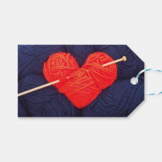 Étiquettes-cadeau Coeur mignon de laine avec la photographie