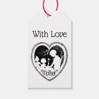 Étiquettes-cadeau Coeur noir et blanc vintage du jour de mère