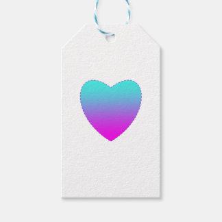 Étiquettes-cadeau Coeur rose/bleu