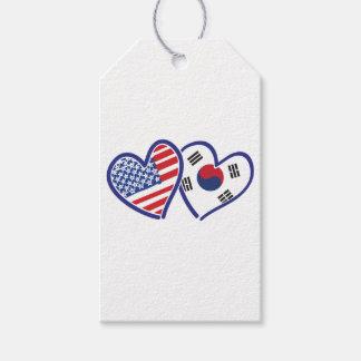 Étiquettes-cadeau Coeurs d'amour des Etats-Unis Corée du Sud