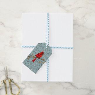 Étiquettes-cadeau Collage cardinal d'oiseau de Noël