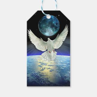 Étiquettes-cadeau Colombe de paix au-dessus de la terre de planète