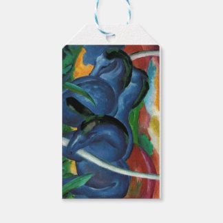 Étiquettes-cadeau conception bleue de chevaux de marc de Franz