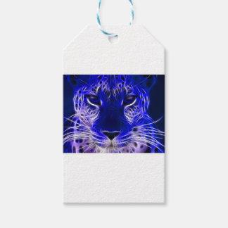 Étiquettes-cadeau conception bleue de fractale de guépard