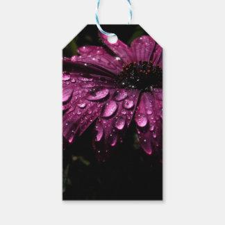Étiquettes-cadeau conception florale d'art de baisses de pluie