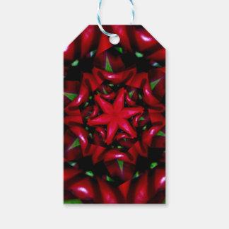 Étiquettes-cadeau conception verte et rouge de fleur de kaleido
